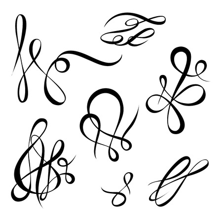 twirls: Vector calligraphy page decoration, calligraphic swirls and twirls elements for design