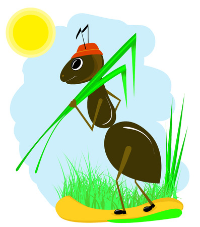 red ant: Cartoon ant carrying a green grass Illustration