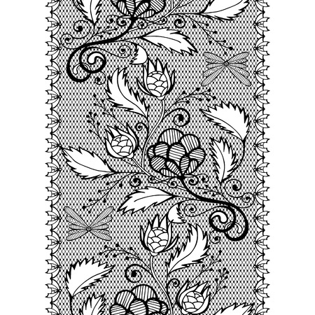 Vector seamless openwork lace border, black endless pattern