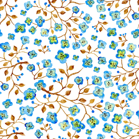 abloom: Vector watercolor seamless bright blossom pattern, floral spring branch ornament, fashion print for fabric, small watercolor pencil drawing flowers