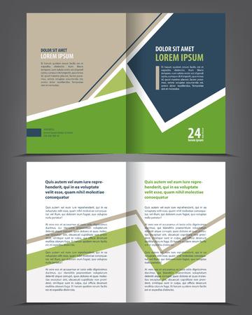 Vector empty bi-fold brochure print template green design, booklet layout Illustration
