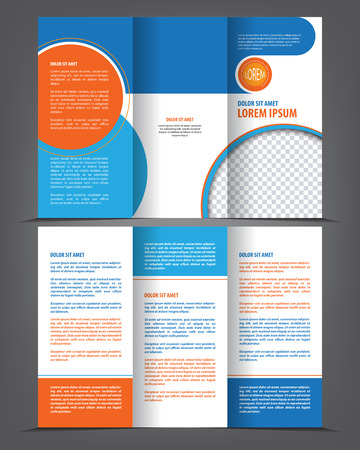 brochure background: Vector empty tri-fold brochure print template design, trifold bright booklet or flayer