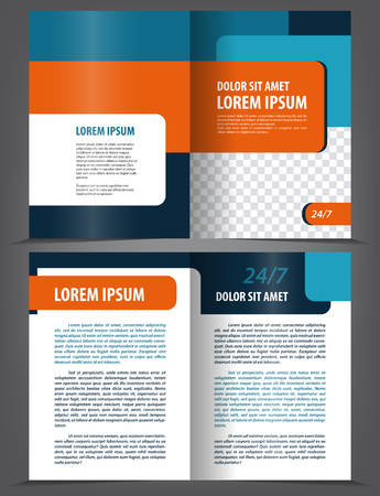 magazine design: Vector empty bi-fold brochure print template design with blue and orange elements