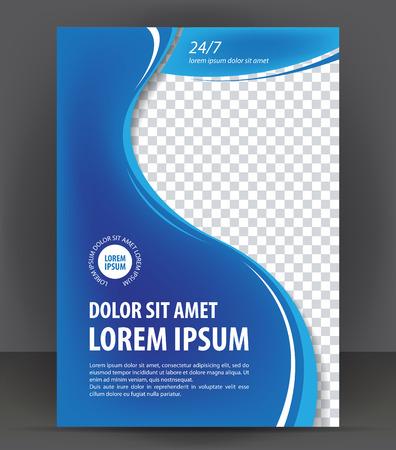 Magazine, dépliant, brochure, couverture mise en page modèle de conception d'impression, vecteur Illustration bleu Banque d'images - 46336792
