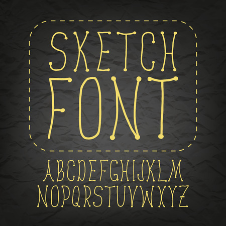 black and yellow: Chalk hand drawing sketch vector alphabet, black yellow font on blackboard, uppercase type thin handwritten letters