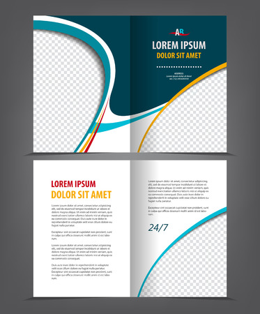 print template: Vector empty bi-fold brochure print template design with blue elements Illustration