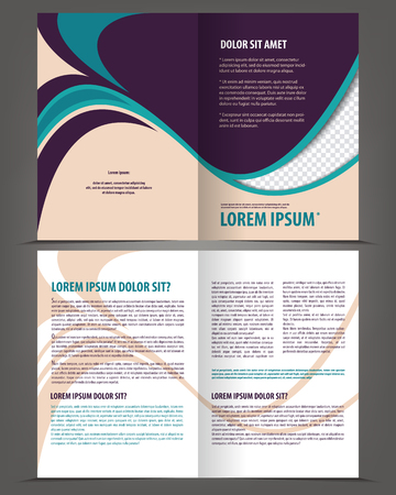 throwaway: Vector empty bi-fold brochure print template violet design, booklet layout