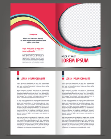design template: Vector empty bifold brochure print design template Illustration
