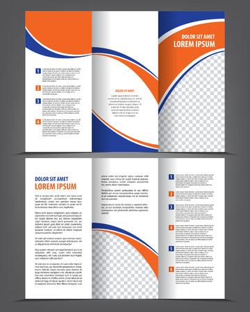 Vector vacío de tres veces el diseño de plantilla imprimir el catálogo, folleto tríptico brillante o flayer Foto de archivo - 46336807