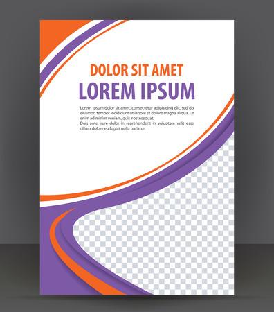 Magazine, flyer, brochure, cover layout violet design print template, retro vector Illustration
