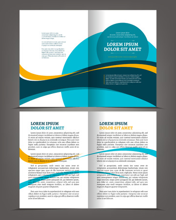 Vector empty bi-fold brochure print template blue design, booklet layout Çizim