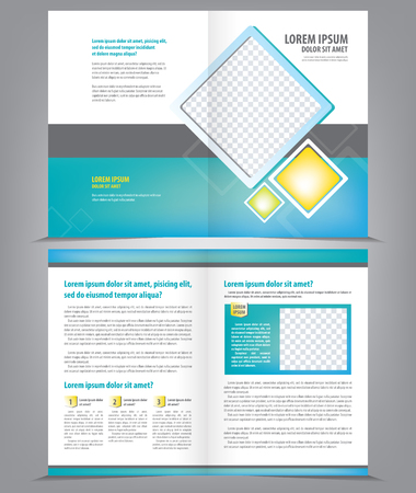 eps 10: Vector empty brochure template design with bright blue elements