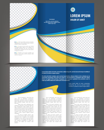 book pages: Vector empty tri-fold brochure print template design, trifold bright blue booklet or flyer