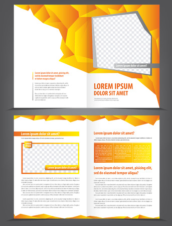 spread sheet: Vector empty brochure print template design with orange and yellow elements Illustration