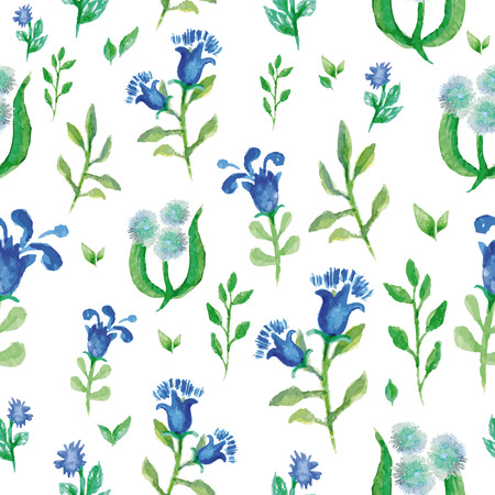aquarel: Watercolor vector seamless background with small blue bell flower, bright floral pattern aquarelle Illustration