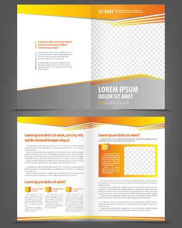 company background: Vector empty brochure template design with orange and yellow elements
