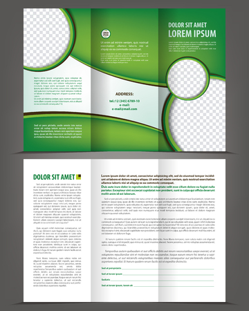 threefold: Vector empty trifold brochure print template eco green design Illustration