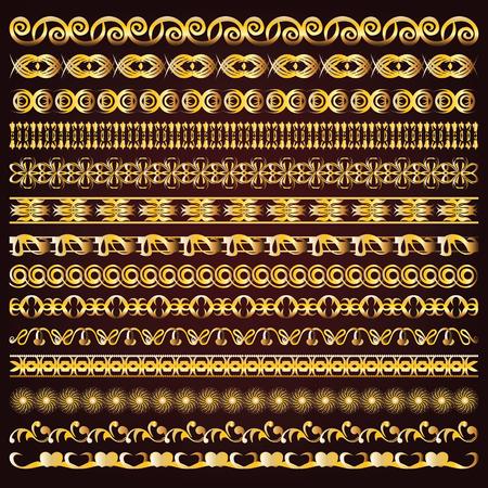 golden frames: Vintage vector golden borders and ornaments
