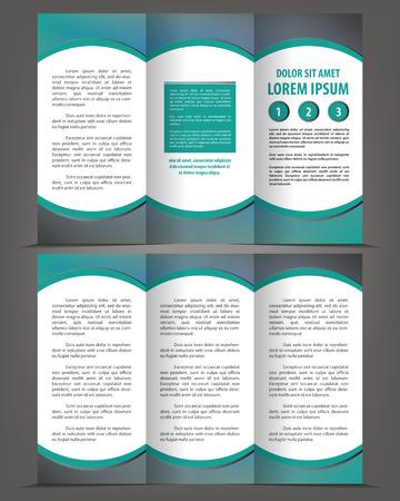 threefold: Vector empty trifold brochure print template green design Illustration
