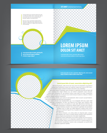 page design: Vector empty bifold brochure template design with blue and green elements