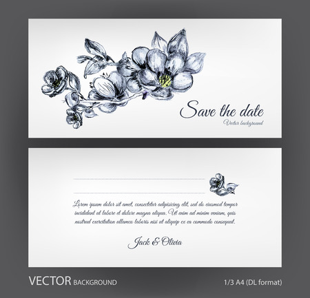 flowering: Vector wedding invitation two-sided card with vintage hand drawn ink flowers. Save the date flowering sakura blossom tree postcard 13 A4 format
