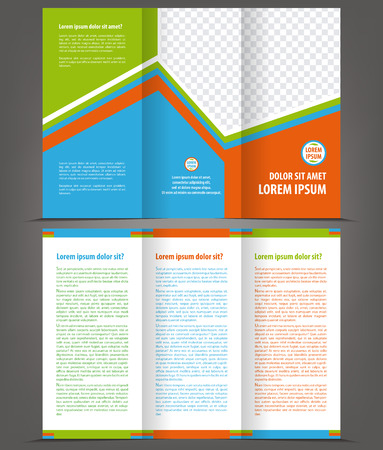 print template: Vector empty trifold brochure print template design Illustration