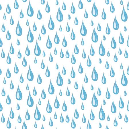 Naadloze witte achtergrond van blauwe regendruppels Stock Illustratie