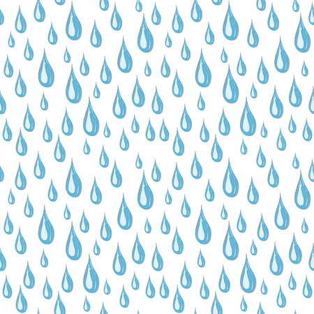 Seamless white background of blue rain drops