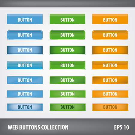 submenu: Collection of blank web buttons. Vector set Illustration