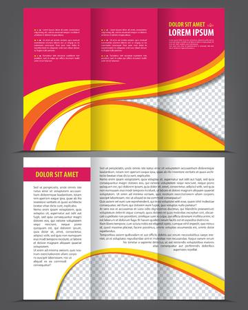 threefold: Vector trifold pink brochure print template design Illustration