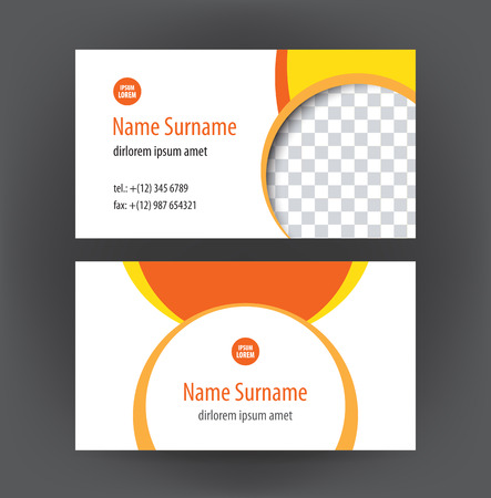 business card template: Set of vector simple professional and designer horizontal personal business cards or visiting card orange Illustration
