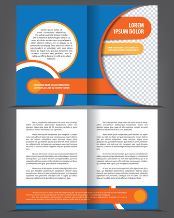 Vector empty bifold brochure template design with blue and orange elements