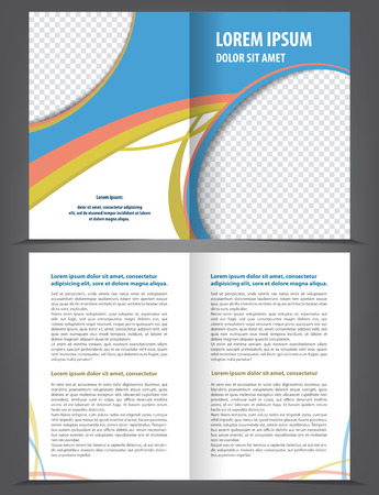 print template: Vector empty bifold brochure template design, print layout orange blue Illustration