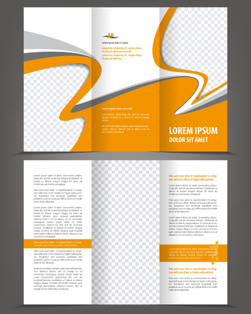 print template: Vector trifold orange brochure print template design
