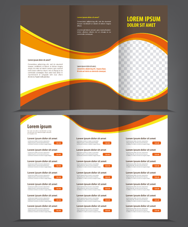 brown design: Trifold business brochure print template brown design