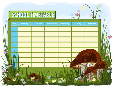 diary: School timetable. Vector background