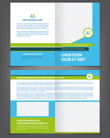 flyer background: Vector empty brochure template design with blue and green elements