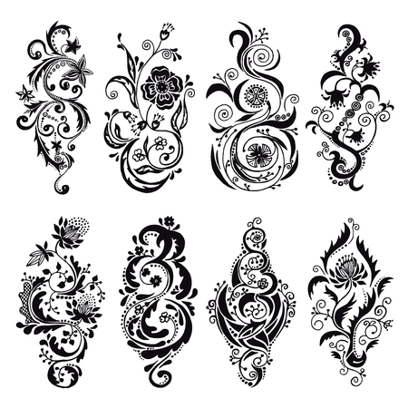 twirls: Set of vector black twisted floral ornament, design elements, swirls, twirls, flourish