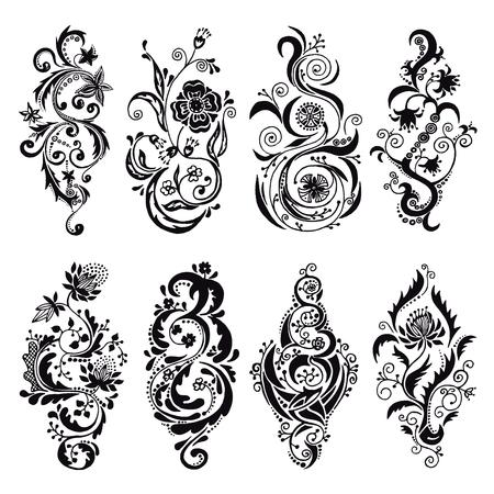 Set of vector black twisted floral ornament, design elements, swirls, twirls, flourish