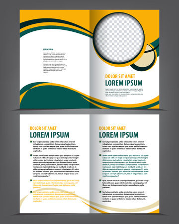 book pages: Vector empty bi-fold brochure print template design with yellow and green elements