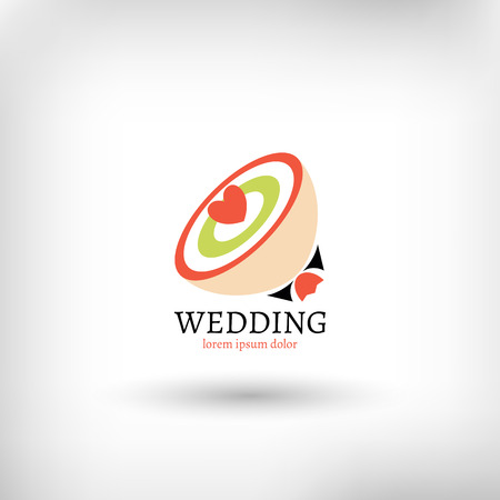 Vector wedding design template, marriage bouquet symbol