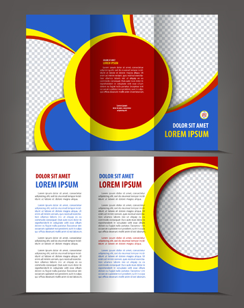 throwaway: Vector empty tri-fold brochure print template design, trifold bright booklet or flayer