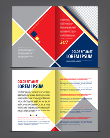 Vector empty bi-fold brochure print template design with blue and red elements Illustration