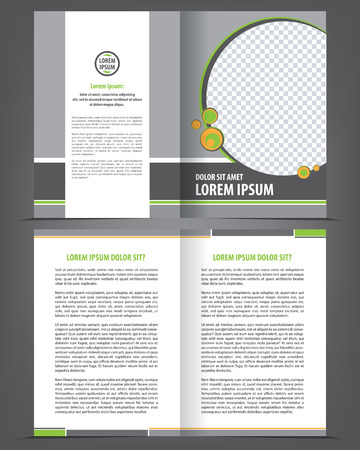 bifold: Vector empty bi-fold brochure print template design with orange and gray elements Illustration