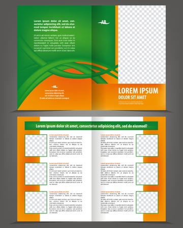impresión: diseño de vector vacío plantilla de impresión folleto de doble pliegue con elementos de color naranja y verde