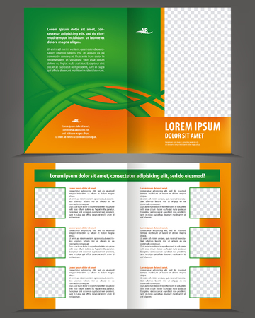 print template: Vector empty bifold brochure print template design with orange and green elements