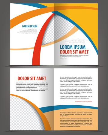 booklet design: Vector empty bi-fold brochure print template design, booklet layout Illustration