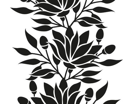 dibujos de flores: Vector floral frontera sin fisuras con flores y hojas estilizadas marco o de fondo