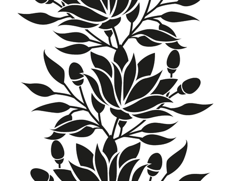 stylized: Vector floral seamless border with flowers and leaves stylized frame or background