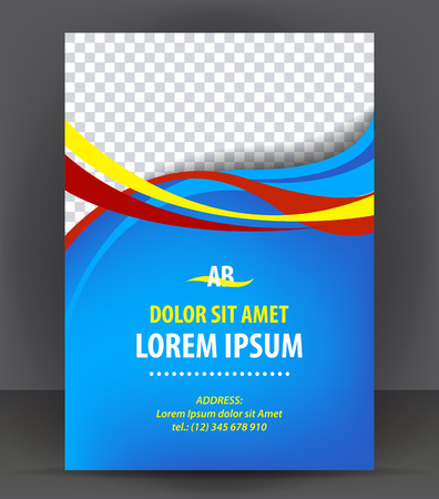 Magazine, flyer, brochure, cover layout design template, vector Illustration Çizim